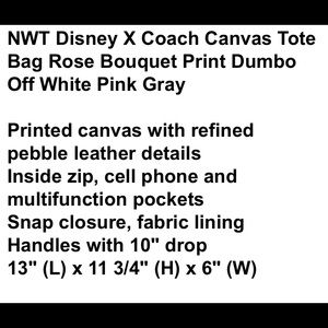 Coach Bags - NWT Coach x Disney Dumbo Tote and pouch